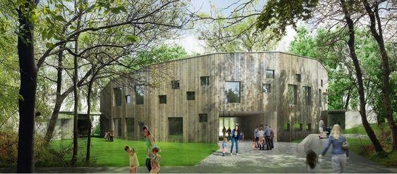 NY BARNEHAGE: Slik vil den nye Greverudlia barnehage se ut, sett fra parkeringsplassen.