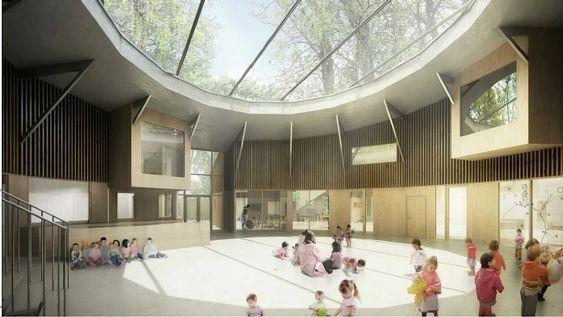 LYST OG STORT: Slik vil fellesrommet i den nye Greverudlia barnehage se ut.