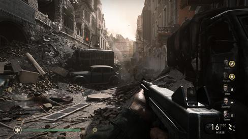 Den tyske byen Aachen i ruiner.