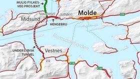 Slik er den nye E 39 tenkt løst gjennom Molde.