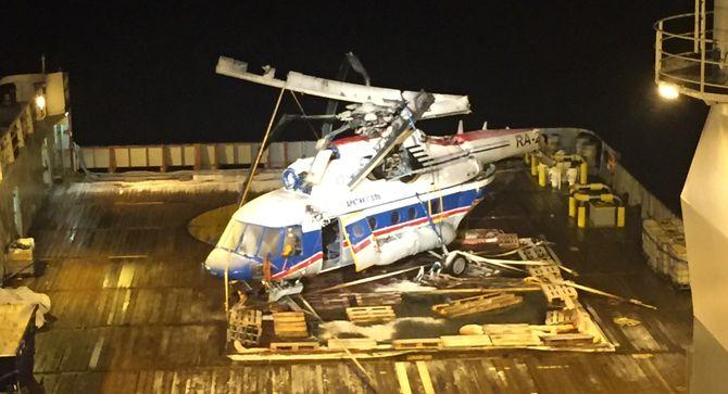 Helikoptervraket på dekk på Maersk Forza.