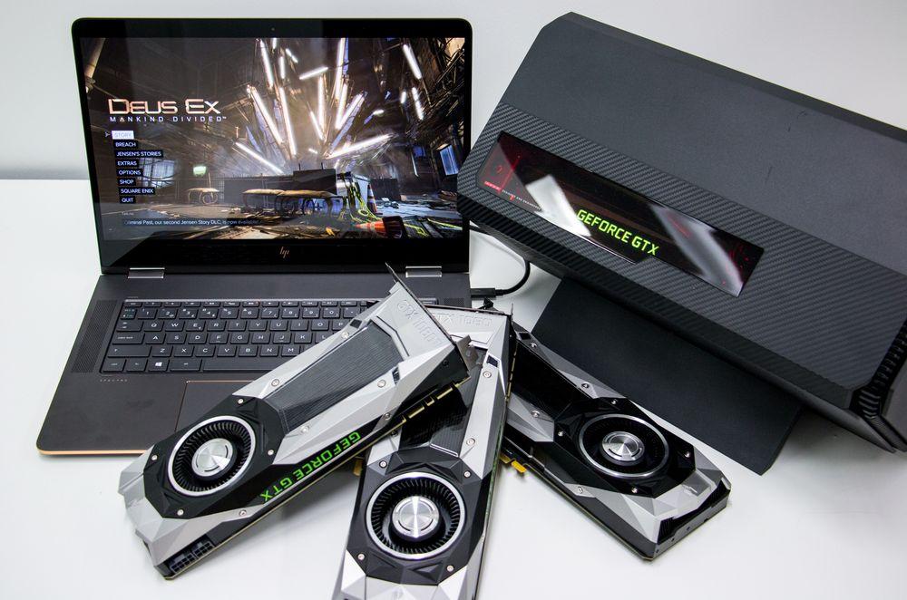 For å teste potensialet i Spectre x360 med fire kjerner og Omen Accelerator fikk vi hjelp av Nvidias GTX 10-serie.