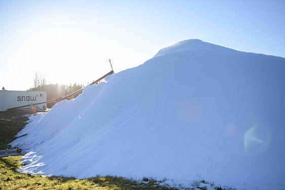 FINE FORHOLD: Kunstsnøen skal sikre at barneskiskolen kan gå som planlagt, uavhengig av om det kommer ekte snø eller ikke.