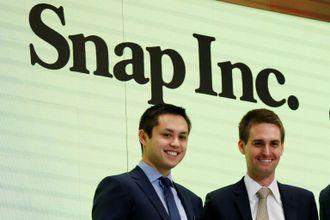 Snapchat-gründerne Bobby Murphy (t.v.) og Evan Spiegel ble mangemilliardærer etter børsnoteringen av teknologiselskapet i mars i år.