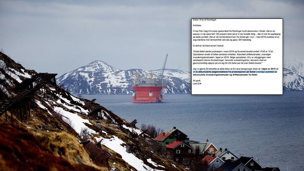 Goliat-feltet i Barentshavet er i hardt vær for tiden. En korrespondanse mellom norske oljemyndigheter (innfelt) og operatørselskapet Eni har nå nådd offentligheten.