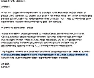 Her forklarer ekspedisjonssjefen i OED for Eni Norge viktigheten av at Goliat-tallene blir riktige, samtidig som han understreker at et Goliat i null i 2019 vil svekke argumenter mot lønnsomheten i Barentshavet.