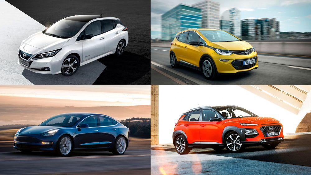 Nissan Leaf 2.0, Opel Ampera-e, Tesla Model 3 og Hyundai Kona er alle elbiler med lang rekkevidde.
