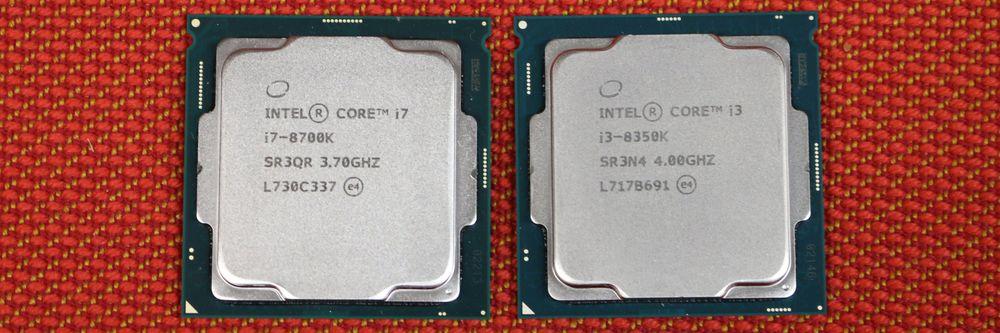 Intel Core i7-8700K og i3-8350K.
