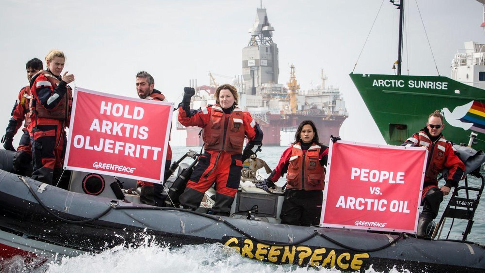 Greenpeace er blant organisasjonene som jobber for å få oljevirksomhet bort fra Arktis. Her fra en protest i Barentshavet,