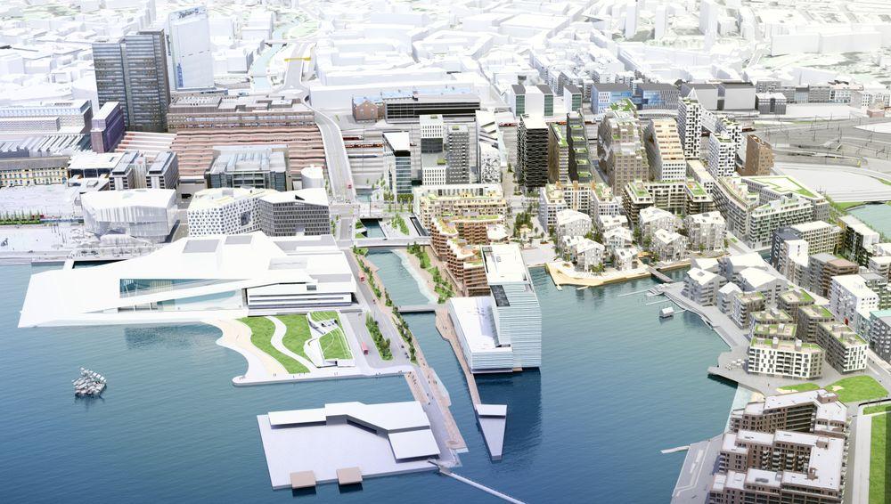 Deler av de nye boligene i Bjørvika vil ligge på vannet.