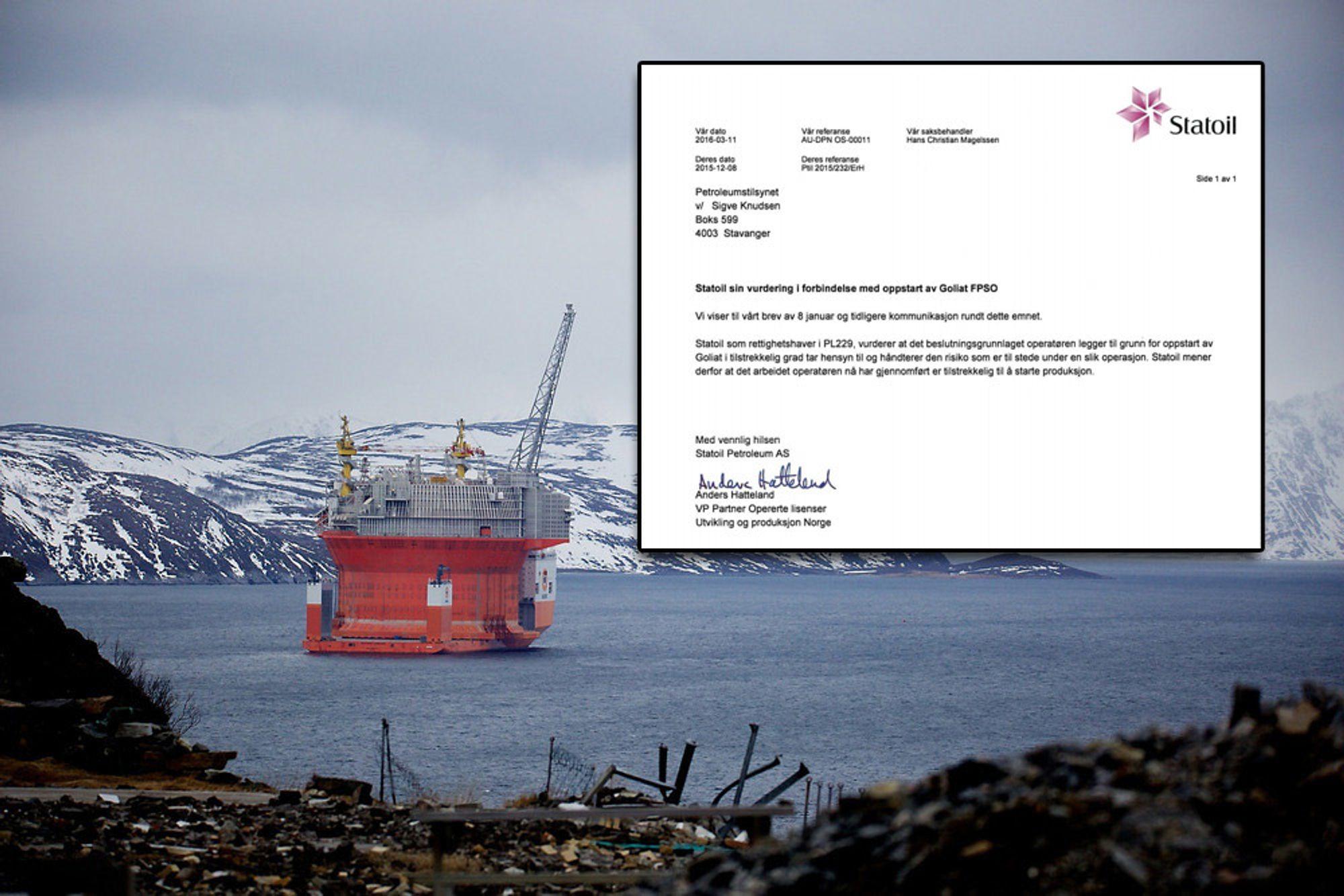 Goliat er det første oljefeltet i produksjon i Barentshavet. Statoil gikk i et brev til Ptil (innfelt) god for at plattformen kunne starte produksjonen. I ettertid har det vist seg at plattformen ikke var trygg ved oppstart likevel.