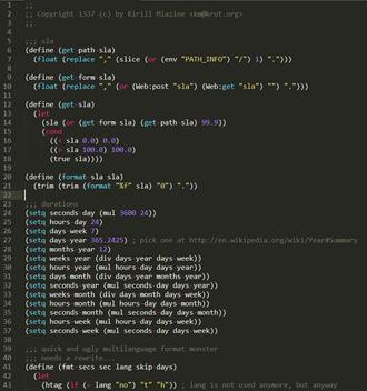 Første del av newLISP-koden Kirill skrev. («Lang is not used anymore, but anyway»).
