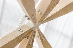 3D- teknologien kan for eksempel være svært nyttig i knutepunkter i bygg. Her er et polymer-knutepunkt fremstilt til paviljongen til Trondheim Makefair.