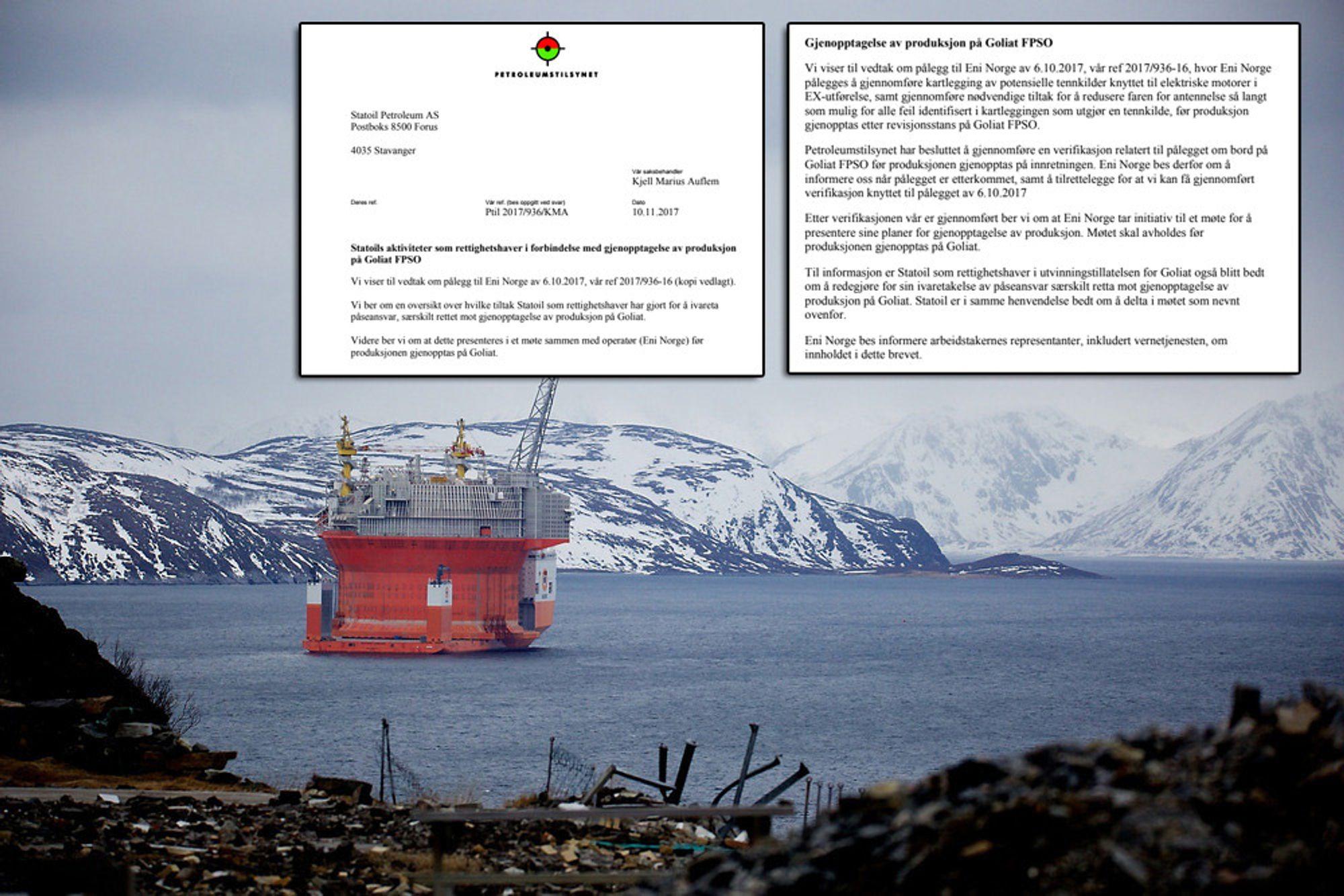 Goliat får ikke starte før norske myndigheter har flydd ut på plattformen og sjekket at alt er i orden