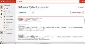 Søk på «synder» ga fire treff i Lovdatas åpne sider, og 2300 treff i Lovdata Pro. Skjermbildet er retusjert av Medier24.