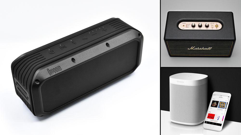 Woombox-Power (t.v) er en tøffing av en høyttaler. Samtidig har Sonos (ned til høyre) fått en ny konkurrent på markedet for Wifi-høyttalere.