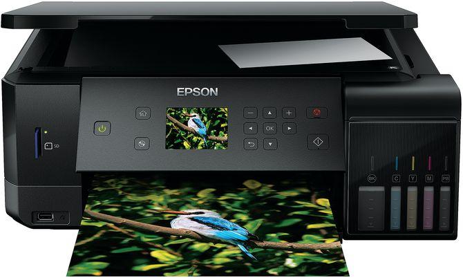 Med Epsons EcoTank-system skal fotoutskriftene bli betraktelig billigere. Her er selskapets nye modell 7700. Foto: Epson.