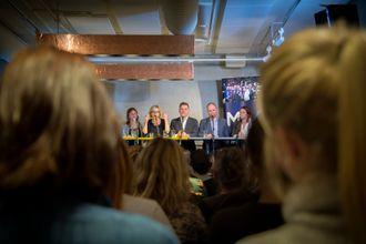 Fra debatten #MeToo på Brygg i Oslo. I panelet satt: NJ-leder Hege Iren Frantzen, kommentator Anki Gerhardsen, kulturredaktør Sarah Sørheim i Aftenposten, sjefredaktør Espen Egil Hansen i Aftenposten, sjefredaktør Gard Steiro i VG og kommunikasjonsdirektør Sarah Willand i TV 2.