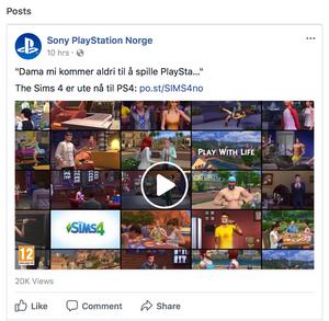 Sony PlayStation Norges Facebook-innlegg.