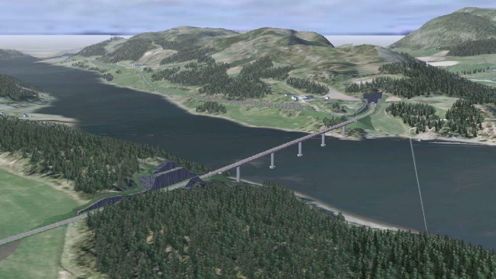 Sichuan Road and Bridge Group ble tildelt oppdraget med å bygge fv. 17 Beitstadsundbrua. Foto: Statens vegvesen / NTB scanpix