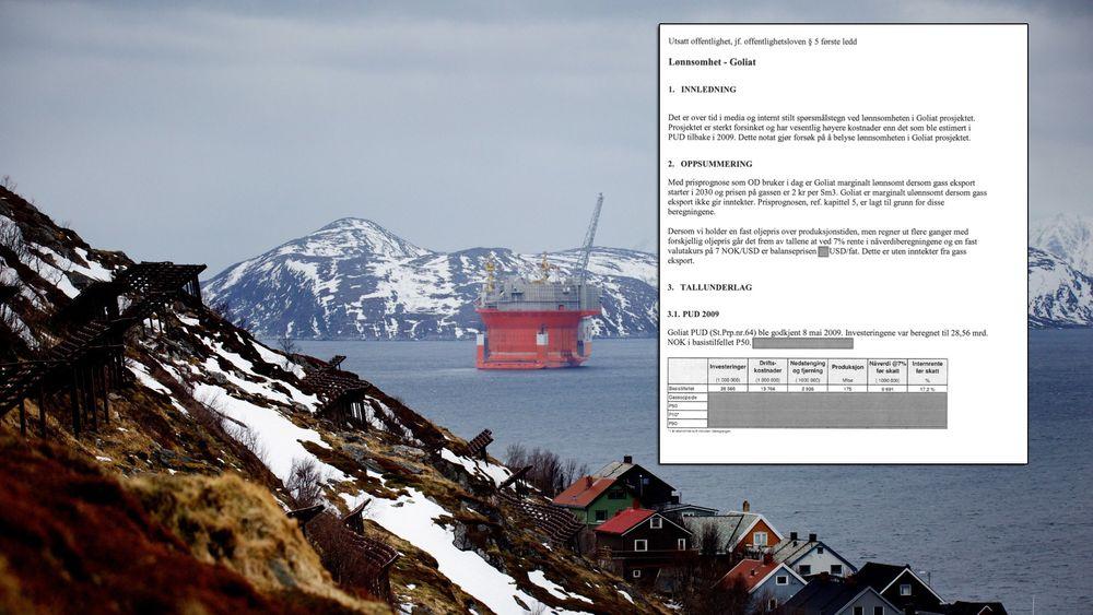 Goliat er det første oljefeltet i Barentshavet. I 2015 gjorde Oljedirektoratet beregninger av lønnsomheten på Goliat (innfelt).