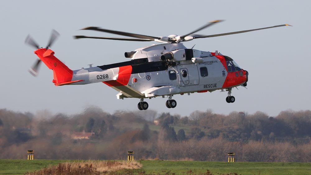 Det første leverte AW101-helikopteret forlot Leonardo Helicopters-fabrikken i ellevetida fredag norsk tid.