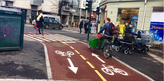 Sweco har prosjektert denne sykkelpassasjen i Thorvald Meyers gate.