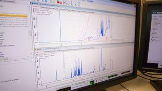 NMR-instrumentene lager spektre som viser konsentrasjonen av ulike molekyler. Disse dataene analyseres videre i programvare utviklet ved Universitetet i Bergen.