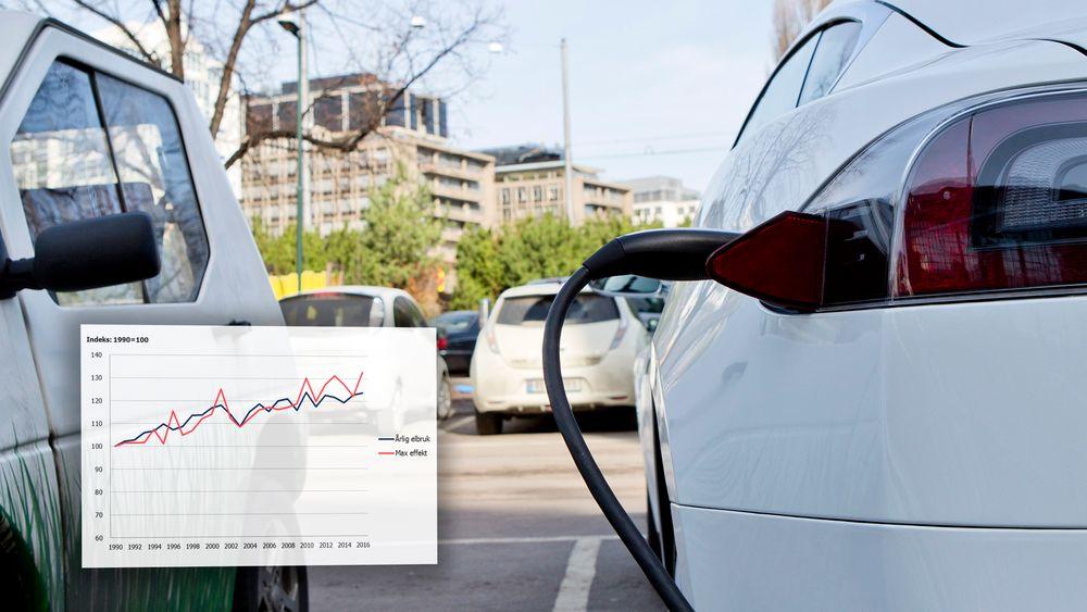 Elbillading er en av flere ting Enova trekker frem som årsaker til at effektuttaket øker mer enn energibruken. Her fra en ladestasjon i Oslo.