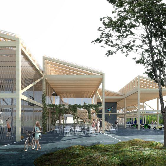 STILIG SKOLE: Arkitemas tegning av Tiller videregående skole utenfor Trondheim. Kanskje nye Kolbotn skole blir slik? Det blir spennende å se!