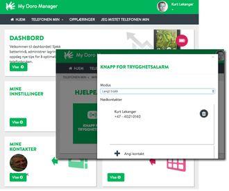 Med My Doro Manager er det mulig å få hjelp med telefonen fra familie og venner, eller man kan bruke tjenesten selv for eksempel for lettere å få overført bilder til en PC.