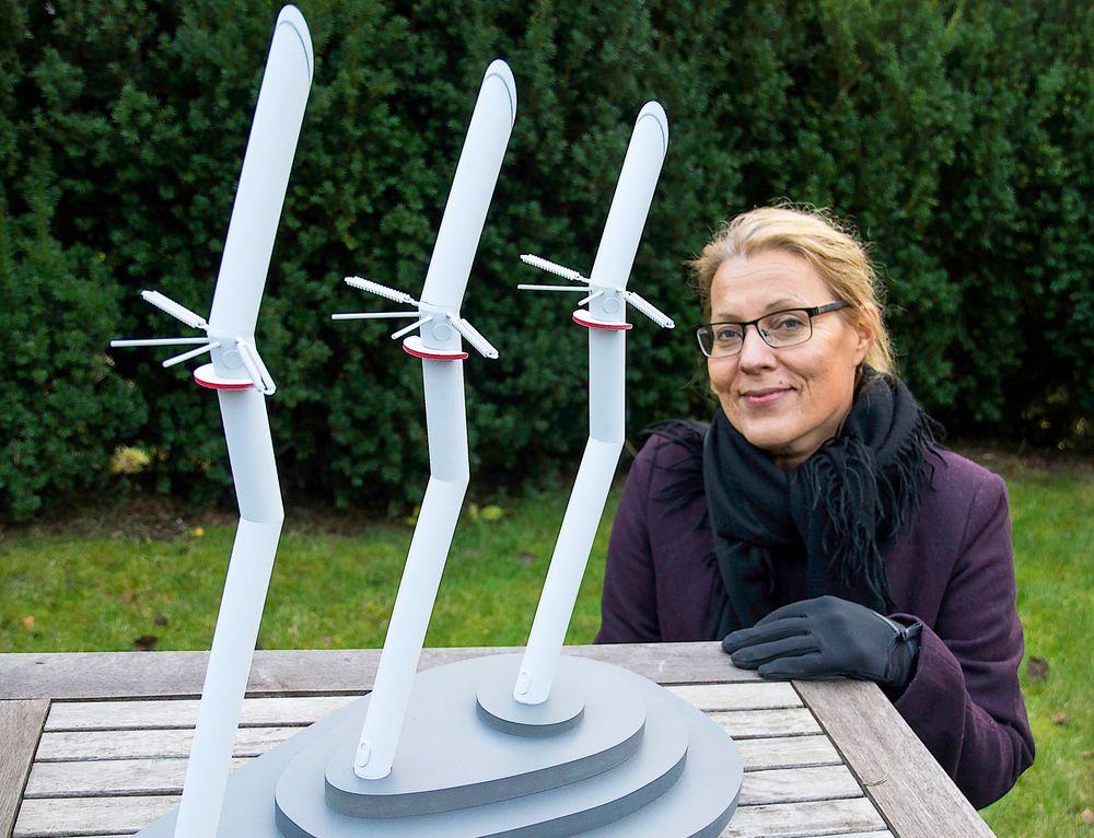 Denne masten designet av Eva Widenoja er nå reist ved Kjerag, og i naturlig størrelse er den 38 meter høy.