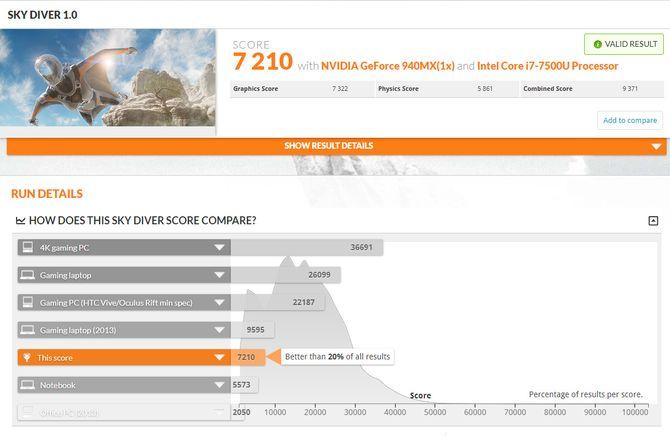 Thinkpad 25 gjør det helt ordinært i den ikke altfor krevende Sky Diver-testen i 3DMark.