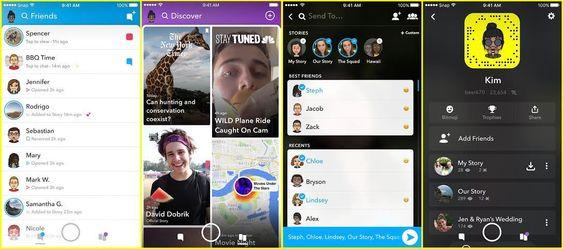 Slik ser skjermene i den nye Snapchat-appen ut. Legg merke til det tydelige skillet mellom venner og kommersielle aktører, til forskjell fra dagens app.