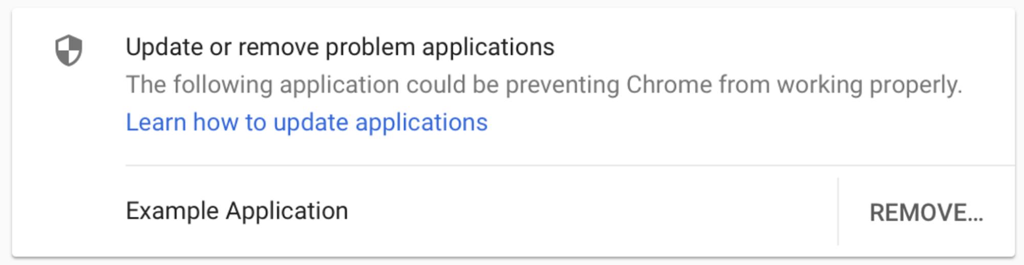 Eksempel på Chrome-advarsel om applikasjon som forhindrer nettleseren i å fungere skikkelig.