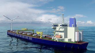 Et ombygget bulkskip på rundt 290 meter i lengde vil ha fasiliteter for fullt mannskap til oppdrett, slakteri og foredling.