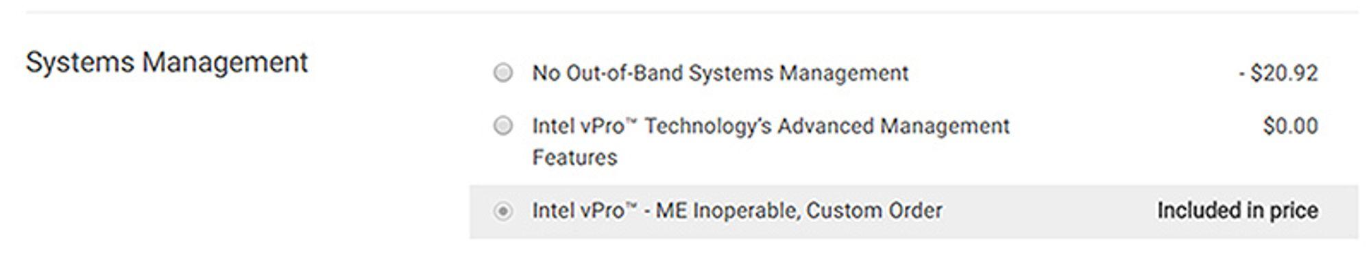 Dell tilbyr en pc som kan leveres med deaktivert Intel Management Engine.