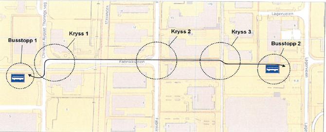 Slik ser den planlagte ruten ut, når den førerløse bussen får testes i trafikk. Fra busstopp 1, osm er Forus Parkering, til kryss2 kjører den på vanlig bilvei. Fra kryss 2 til busstopp 2, like ved bussveien, kjører den på gang- og sykkelvei.