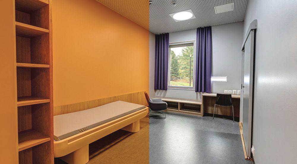 Klokken 18 hver dag endres det blå dagslyset til rødt lys på akuttpsykiatrisk sykehus i Trondheim.