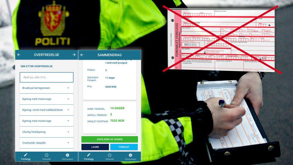 Politiet tar snart i bruk en digital løsning for forenklede forelegg. Her fra en trafikkontroll i Traktorveien i Oslo.