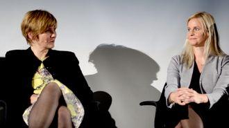 Nyhetsredaktør Karianne Solbrække (t.h.) og tidligere SSB-sjef Christine Meyer.