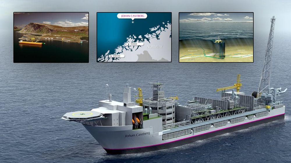 Johan Castberg blir bygget ut med et prouduksjonsskip. Tidligere har det vært planer om å ilandføre oljen til en terminal på Veidnes (øverst til venstre). Også en halvt nedsenkbar løsning har vært vurdert.-