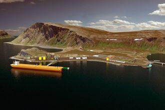 Opprinnelig var det planlagt en terminal for ilandføring av olje på Veidnes. Den blir foreløpig ikke realisert.