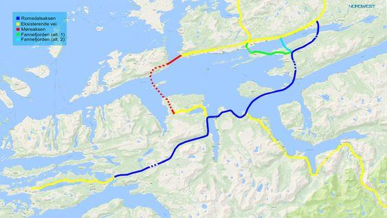 Den planlagte fjordkryssingen følger den rød streken. Jørn Inge Løvik og Romsdalsaksen AS ønsker å at Statens vegvesen følger den blå traséen.
