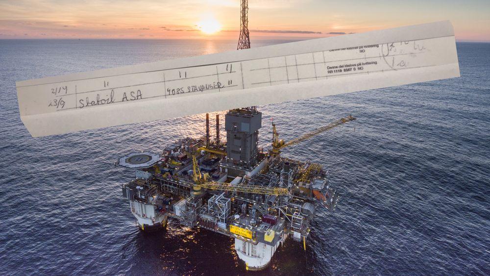 Dette er kopien av kvittering for en rekommandert sending til daværende Statoil ASA, nå Equinor, 23. september 2015. Lagt oppå bildet av Njord-plattformen. Foto: Thomas Sola - Equinor/Montasje: TU.