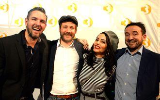 VÅRKLAR PÅ TV3, fra venstre: Programdirektør Andreas Bakka Hjertø, programleder og kjendiskokk Kjartan Skjelde, Paradise Hotel-general Triana Iglesias og MTG TV-sjef Morten Micalsen.
