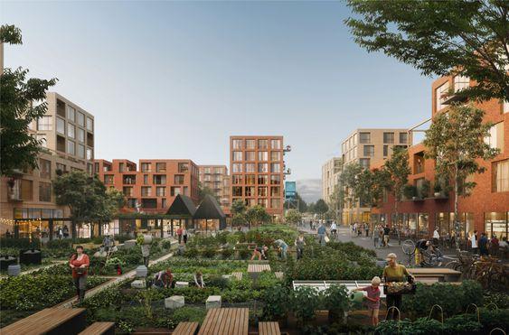 BÆREKRAFTIG: Det planlegges for urbant landbruk på det nye boligområdet. Sentralt står også grønn mobilitet, smarthusteknologi, miljøvennlige materialer og fellesskapsløsninger.
