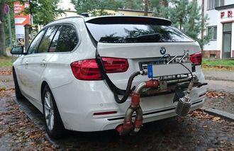 DUHs testbil var utstyrt med utstyr som måler utslipp under kjøring på vei.