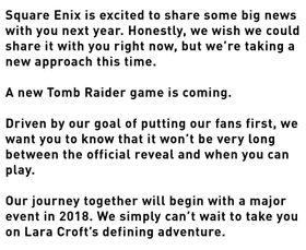 Slik kunngjorde Square at det jobbes med et nytt Tomb Raider-spill.