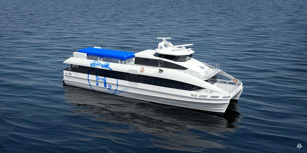 Brødrene Aa har designet en 29,9 meter katamaran for 145 passasjerer. Med 500 kg H2, 12 x 100 kW brenselceller og to 600 kW elektromoterer, skal den kunne seile 150 nautiske mil i 25 knop. Hydrogentanker på dekk.
